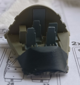 I did some work on the B747-8F today while waiting for to see if there would be any reaction to the tack. The cockpit is done and the brownish color is sprayed inside the fuselage.